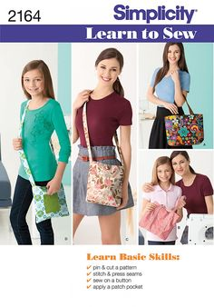 Learn basic skills with this Simplicity 2164 Learn to Sew Bag Sewing Pattern