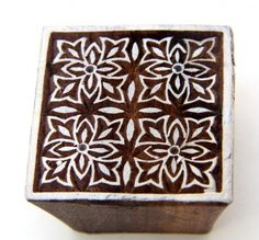 Round floral Indian wood block printing stamp for Mehindi or henna art Can also be used on paper and textiles or even potters and soap smiths use it br br Hawaiian Designs, Stamp Carving, How To Make Stencils, Handmade Stamps, Textiles, Printing On Fabric, Textile Printing, Pattern Blocks, Artisanal