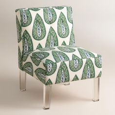 Our plush, custom-made slipper chair is handcrafted in the U.S.A. with 100% cotton upholstery, button accents and acrylic legs. Choose from an array of prints in bold greens and fresh spring hues.