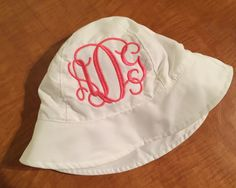 A personal favorite from my Etsy shop https://www.etsy.com/listing/270698412/monogrammed-baby-hat-bucket-hat-baby