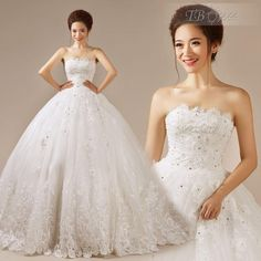 Plus Size Wedding Dress 2015 Fashionable Pretty Ball Gown Strapless Lace-Up Brush Train Wedding Dress W786, $196.86   DHgate.com