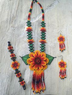 A personal favorite from my Etsy shop https://www.etsy.com/listing/256217649/huichol-beaded-set-includes-earrings-and