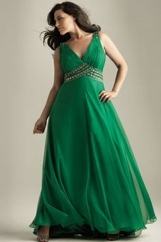 emerald green pleated beaded chiffon satin a-line plus-size bridesmaid dress evening prom dress