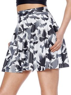 Raven Pocket Skater Skirt (WW 48HR $65AUD / US - LIMITED $52USD) by Black Milk Clothing