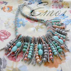 """Handmade beaded necklace """"Fringe"""", boho, ethnic, beads, seed beads, emoi, handmade, turquoise, blue, rose, peach, grey"""