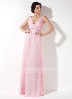 Bridesmaid Dresses - $118.99 - A-Line/Princess V-neck Floor-Length Chiffon Bridesmaid Dress With Ruffle Beading (007017157) http://jjshouse.com/A-Line-Princess-V-Neck-Floor-Length-Chiffon-Bridesmaid-Dress-With-Ruffle-Beading-007017157-g17157