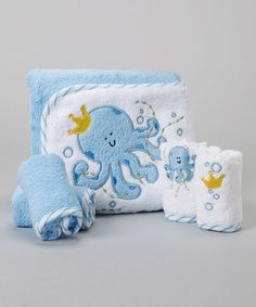 This Blue Octopus Hooded Towel Set by SpaSilk is perfect! #zulilyfinds