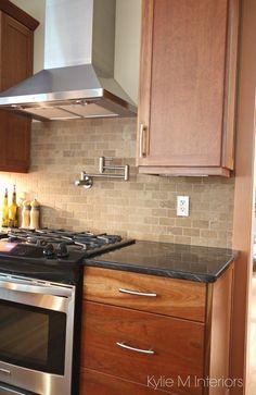 Kitchen Tiles Granite kitchen cabinets - american cherry, glass subway tile backsplash