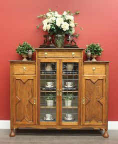*Because* Antiques & Interiors - Antique English Oak and Lead Light Door 3 Tier China Cabinet / Bookcase Cupboard