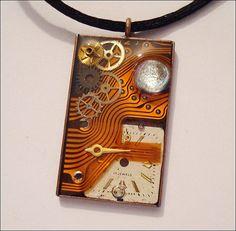 Circuit Board Steampunk Mixed Media