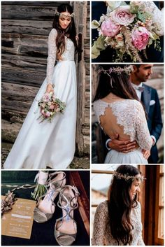 24 Rustic Wedding Dresses To Be A Charming Bride ❤️ rustic wedding dresses straight lace long sleeves open back chris and ruth ❤️ Full gallery: https://weddingdressesguide.com/rustic-wedding-dresses/ #bride #wedding #bridalgown