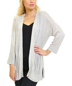 Love this Raw Wheat Knit Stripe Dolman Open Cardigan - Women by VICE VERSA on #zulily! #zulilyfinds