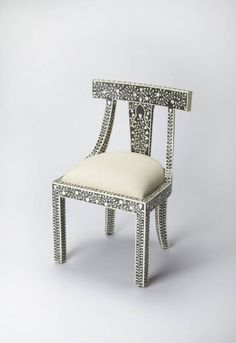 Bone Inlay Traditional Black Inlay Solid Wood MDF Resin Accent Chair