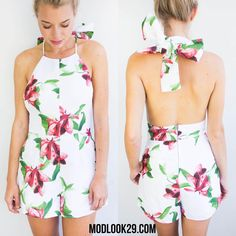 Look chic this Christmas in our floral bow back romper! Only $49 in store and online at Modlook29.com!