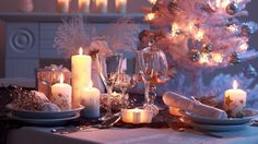 nice new year christmas holiday table candles tableware tree
