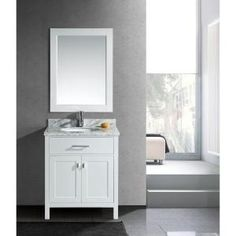 Design Element London 30 in. Single Vanity in White with Marble Vanity Top and Mirror in Carrara White-DEC076E-W at The Home Depot