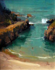 "Te Arai Point  by Richard Robinson. 10x8"" acrylic"