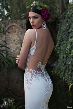 berta 2015 bridal stunning sheath wedding dress beaded straps lace bodice close up illusion low back view