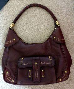 MICHAEL KORS Brown Pebbled Leather Hobo Bag Handbag Shoulder Orig. $598 Brass   eBay
