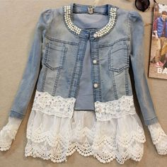 New 2017 Spring Jackets Women Outerwear Slim Lace Patchwork Long-sleeve Denim Jacket Lady Vintage Jeans Jacket Lace Jacket A128