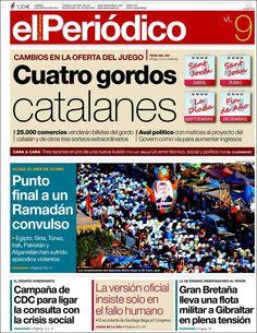 Los Titulares y Portadas de Noticias Destacadas Españolas del 9 de Agosto de 2013 del Diario El Periódico ¿Que le pareció esta Portada de este Diario Español?