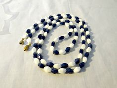 Vintage Blue and White Oval Glass Bead by TimelessTreasuresbyM, $16.00