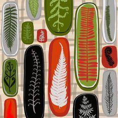 Jane Galloway, Palm Prints, Floating Ferns Kiwiana, Ferns, Giclee Print, Illustration Art, Vibrant, Art Prints, Palm, Artwork, Inspiration