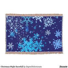Christmas Night Snowfall Throw Blanket