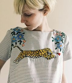 New top on etsy today ;) ✨ crushin leopard with flowers #embroidery #etsy…