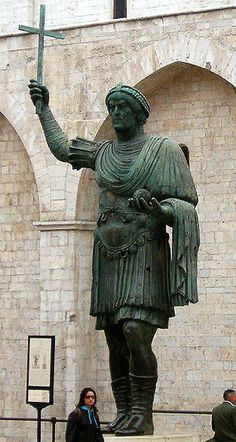 Barletta Colossus - large bronze statue  (16.7 feet) of an Eastern Roman Emperor. Not much is known about either the origins or the subject of the statue. From the Gothic diadem, he might be Theodosius II, father-in-law of Western Roman Emperor Valentinianus III (5th century CE). The statue may have been originally located in Ravenna, then transported in Barletta by Emperor Frederick II in the early 13th century CE.