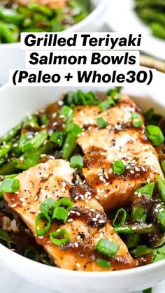 Salmon Recipes, Seafood Recipes, Asian Recipes, Grilled Teriyaki Salmon, Healthy Salad Recipes, Healthy Meals, Paleo Diet, Keto, Seafood Dinner