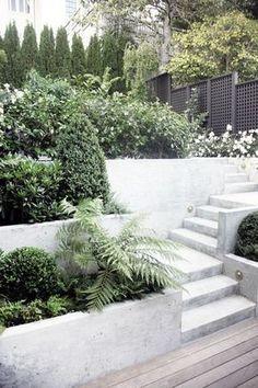 Concrete Backyard, Backyard Patio, Patio Wall, Small Gardens, Outdoor Gardens, Landscape Design, Garden Design, Sunset Landscape, Garden Floor