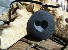i Heart u  engraved Beach Stone Pendant  A lover of by castastone