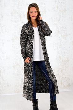 Πλεκτή ζακέτα με κουκούλα και δίχρωμη πλέξη - ΠΛΕΚΤΑ-ΖΑΚΕΤΕΣ | POTRE Duster Coat, Jackets, Collection, Fashion, Down Jackets, Moda, Fashion Styles, Fashion Illustrations, Jacket