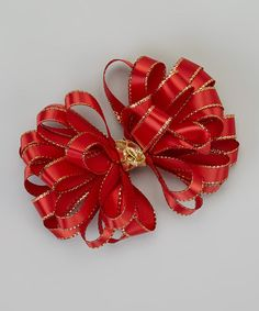 Take a look at this Red & Gold Clip by Picture Perfect Hair Bows on #zulily today!