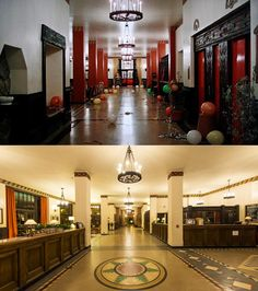 Above, the interior of the Overlook Hotel as envisaged by Kubrick; below, the interior of the  Ahwahnee Hotel that inspired it