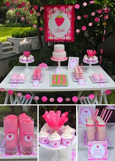 Sweet Pink Lime Strawberry Party - Love the neon pink drink rim!  If you have chosen the colour pink this could be a idea!
