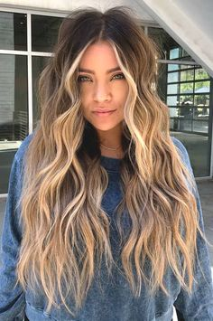 Blonde Hair Looks, Blonde Hair With Highlights, Brown Blonde Hair, Grey Hair, Caramel Highlights, Black Hair, Brown Hair With Blonde Ombre, Blond Curly Hair, Balayage Hair Brunette With Blonde