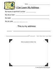 My Address Worksheet - Write and Draw