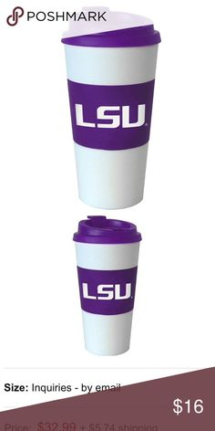 NWT $24 LSU INSULATED 16 Oz PURPLE TUMBLER CUP BRAND NEW! RETAIL: $24  NCAA LSU FIGHTIN TIGERS 16 oz Insulated Travel Tumbler •Hand wash. Do Not Microwave •Double wall insulated plastic drink tumbler •Insulated to keep your beverage hot or cold •White Cup with Purple lid & Sleeve •Rubberized sleeve features LSU logo •Easy twist & lock lid •Made of BPA-free plastic •Sports Team: LSU Tigers •Capacity: 16 Ounces •Material: Plastic •Insulated: Yes •Sports League: NCAA •University: Louisiana…