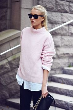 A pink oversized sweater and black chinos are your go-to outfit for lazy days. Shop this look for $304: http://lookastic.com/women/looks/sunglasses-oversized-sweater-dress-shirt-chinos-crossbody-bag/4359 — Black Sunglasses — Pink Oversized Sweater — White Dress Shirt — Black Chinos — Black Leather Crossbody Bag