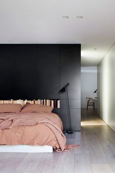 Australian architecture practice StudioFour architects renovate a house for a family with Danish heritage living in Melbourne, who were looking for a modern home that would express Hygge Home Bedroom, Modern Bedroom, Master Bedroom, Bedroom Decor, Bedroom Photos, Bedroom Ideas, Bedroom Suites, Decorating Bedrooms, Decorating Games