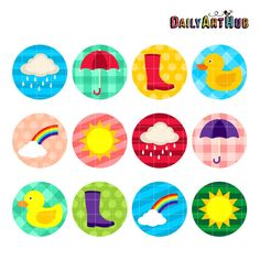 Rainy Days Collage Digital ClipArt for Scrapbooking by DailyArtHub