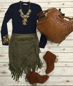 Fringe Skirt: Olive