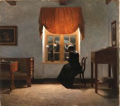 A woman knitting by a window, Peter Vilhelm Ilsted