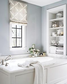 White Bathroom Design Ideas - - Bypass the bold hues and embrace the clean, polished simplicity of white. Find out how to create a sparkling white bathroom using white and similar neutral hues. White Master Bathroom, Zen Bathroom, Diy Bathroom Decor, Grey Bathrooms, Bathroom Renos, Bathroom Interior, Modern Bathroom, Small Bathroom, Bathroom Ideas