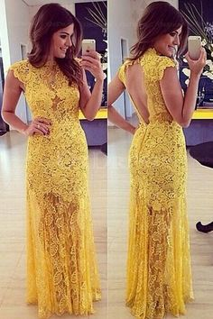 Openwork Lace Prom Dress, Sexy Prom Dress, Yellow Prom dresses, Long prom sold by MODDRESS. Shop more products from MODDRESS on Storenvy, the home of independent small businesses all over the world. Backless Evening Gowns, Backless Prom Dresses, Lace Evening Dresses, Cheap Prom Dresses, Sexy Dresses, Party Dresses, Dress Prom, Club Dresses, Long Dresses