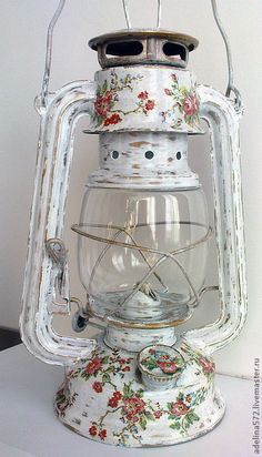 Diy Crafts Lamp, Diy Crafts For Home Decor, Arts And Crafts, Shabby Chic Style, Shabby Chic Decor, Lanterns Decor, Candle Lanterns, Miniatur Motor, Bottle Crafts