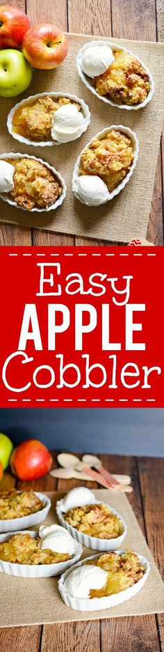 Easy Apple Cobbler Recipe -Make this 5 ingredient quick and easy apple…