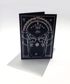 Lord of the Rings inspired greeting card, decorated with silver foil Gates of Moria, Tolkien, birthday
